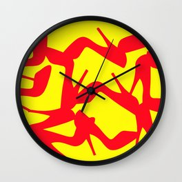 Shoe Fetish (Version 2) in Red and Yellow by Bruce Gray Wall Clock