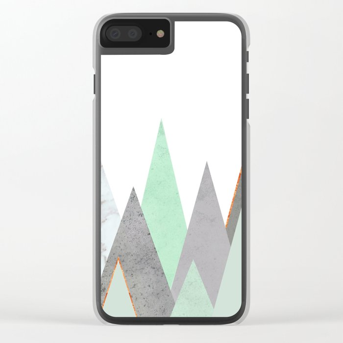 MINT COPPER MARBLE GRAY GEOMETRIC MOUNTAINS Clear iPhone Case