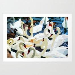 Swans on the Lake Art Print