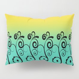 Ombre  Misty Rainbow Black Swirl Pattern - Pink, Yellow & Turquoise Pillow Sham