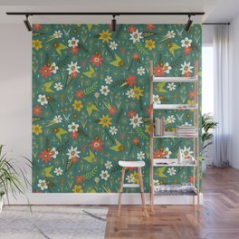 bright fun floral pattern Wall Mural