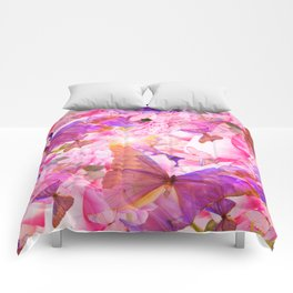 A Summer Dream Where Pink And Violet Butterflies Flying #decor #society6 #pivivikstrm Comforters