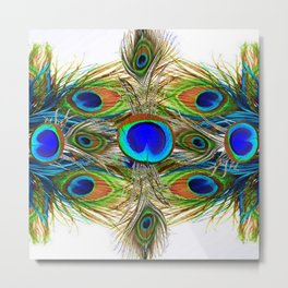 AWESOME BLUE-GREEN PEACOCK FEATHERS ART Metal Print