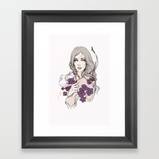 Birth Flower II - Violet Framed Art Print