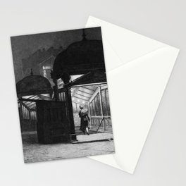 Late Traveler, Subway Street Scene, Night black and white painting by Martin Lewis Stationery Cards