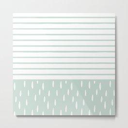 Mint White Stripes & Leaves Metal Print