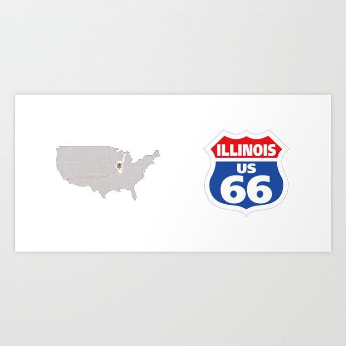Route66 Illinois Art Print