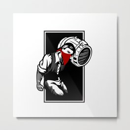 Thief illustration with wine cask Metal Print