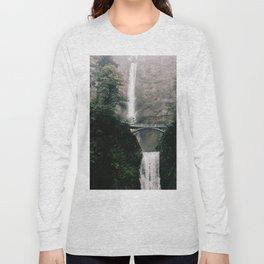 Multnomah Falls Waterfall in October - Landscape Photography Long Sleeve T-shirt