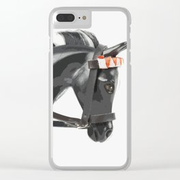 Black and White Pony Clear iPhone Case