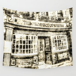 Prospect of  Whitby Pub London 1520 Vintage Wall Tapestry