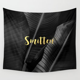 Smitten gold - bw banana leaf Wall Tapestry