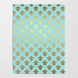 Royal gold ornaments on aqua turquoise background Poster