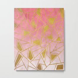 Geometric pink & gold pattern Metal Print