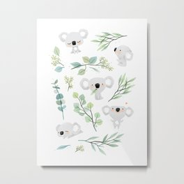 Koala and Eucalyptus Pattern Metal Print