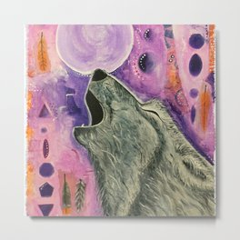Spirit Wolf - Gold Lotus Oracle Metal Print