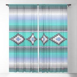 Modern Mexican Serape in Teal Sheer Curtain