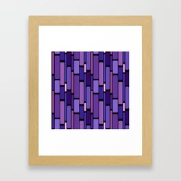 Purple Indigo Retro Blocks Framed Art Print