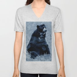 Black bear contemplating life Unisex V-Neck