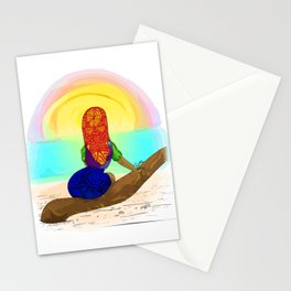 Kuna girl watching the sunset Stationery Cards