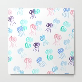 Jellyfish Pattern on White Metal Print