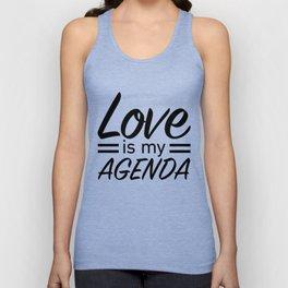 LOVE IS MY AGENDA black Unisex Tank Top