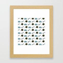 Cat Stuff Pattern Framed Art Print