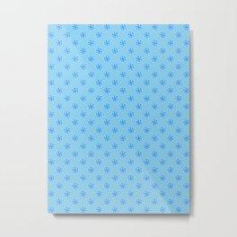 Brandeis Blue on Baby Blue Snowflakes Metal Print