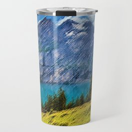 Bergsee Hut Overlooking Alpine Lake Landscape Painting by Jeanpaul Ferro Travel Mug