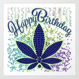 Happy Birthday, Birthstoned Tanzanite Art Print