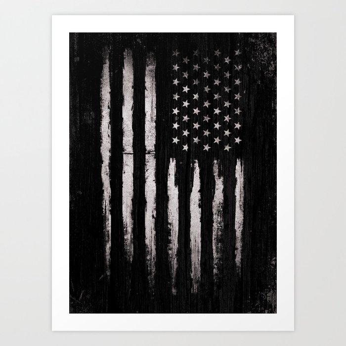 White Grunge American flag Kunstdrucke