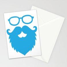Hipster Beard Blue Stationery Cards