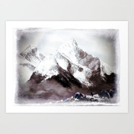 Panoramic View Of Everest Mountain Painting Art Print