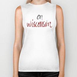 On Wisconsin - Red + Gray Biker Tank