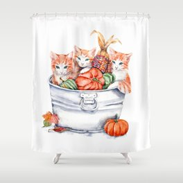 Harvest Kittens Shower Curtain