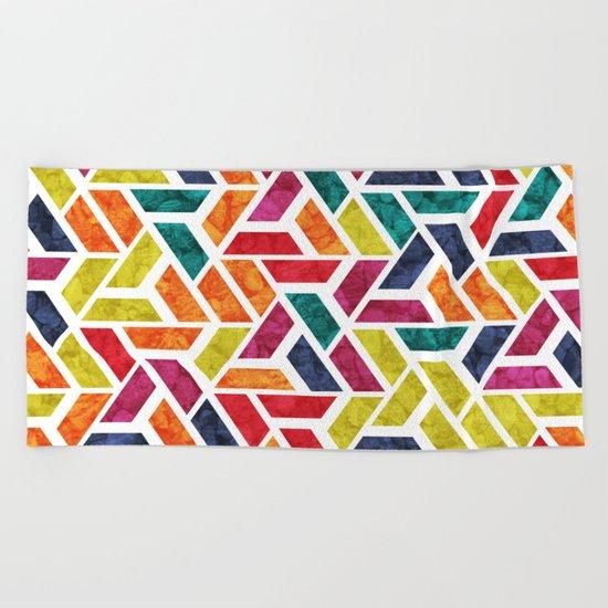 Seamless Colorful Geometric Pattern XII Beach Towel