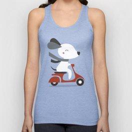 Kawaii Cute Dog Riding A Scooter Unisex Tank Top
