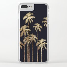 Glamorous Gold Tropical Palm Trees on Black Clear iPhone Case