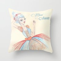 marie antoinette Throw Pillows featuring Marie Antoinette by carotoki