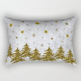 Sparkly Christmas tree, stars, moons on abstract paper Rectangular Pillow