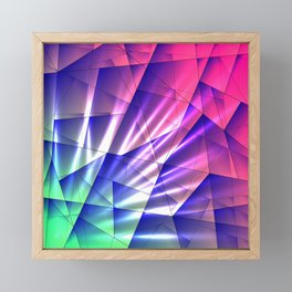 Bright glare of crystals on irregularly shaped blue and violet triangles. Framed Mini Art Print