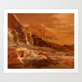 In the Foothills of Titan's Mountains Art Print