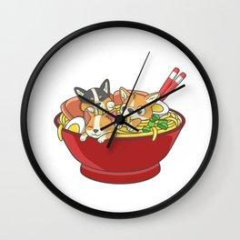 Japanese Corgi Ramen Kawaii Ramen Noodle Life Wall Clock