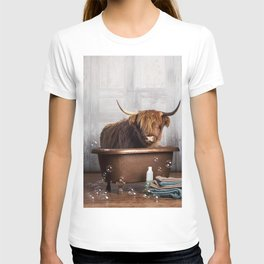 Highland Cow in the Tub T-shirt