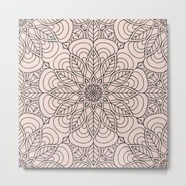 Black Flower Mandala 3 Metal Print