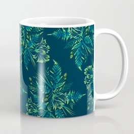 Ferns and Parrot Tulips - Green Coffee Mug