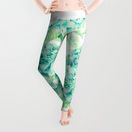 Hand painted green watercolor hydrangea floral pattern Leggings