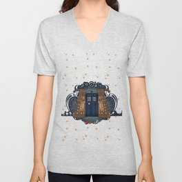 Art Nouveau Daleks and the TARDIS Unisex V-Neck
