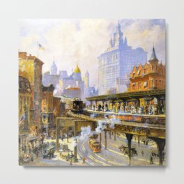 Elevated Subway at Chatham Square New York City landscape painting by Colin Campbell Cooper  Metal Print