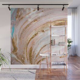 Blush Pink And Gold Liquid Color  Wall Mural